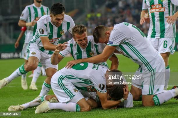 the rejoicing of Andrei Ivan of Rapid Stefan Schwab of Rapid Dejan Ljubicic of Rapid scorer Mert Muelduer of Rapid and Mateo Barac of Rapid during...