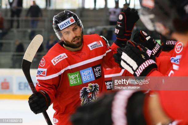 The rejoicing of Peter Schneider of Austria during the Austria v Denmark - Ice Hockey International Friendly at Erste Bank Arena on May 5, 2019 in...