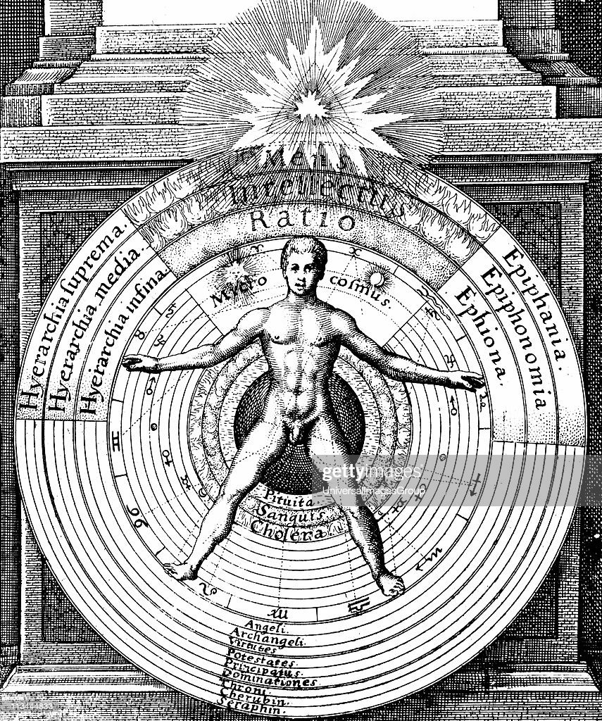 The relation of man, the microcosm with the universe, the macrocosm, showing the spheres of the Sun, Moon and planets and the hierarchy of angels, archangels, leading to the trinity of God represented by triangle at the top. From Robert Fludd Ultriusque c... : News Photo