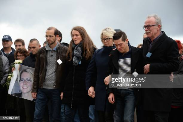 The relatives of murdered French woman Alexia Daval her father JeanPierre Fouillot her husband JonathanN Daval her mother Isabelle Fouillot her...