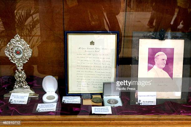 The relics and personal belonging used by Saint John Paul II in the Tour of Papal Relics Exhibit inside the Gateway Mall Cubao Quezon City The Tu Es...