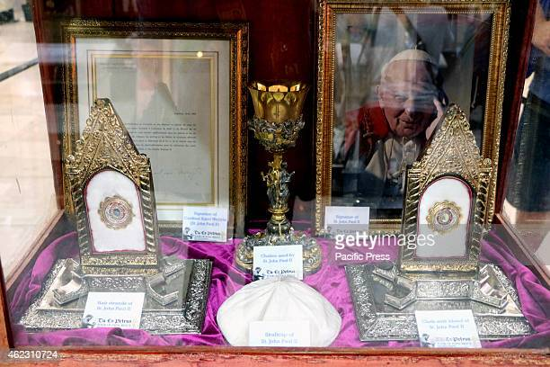 The relics and personal belonging was used by Saint John Paul II in the Tour of Papal Relics Exhibit inside the Gateway Mall Cubao Quezon City The Tu...