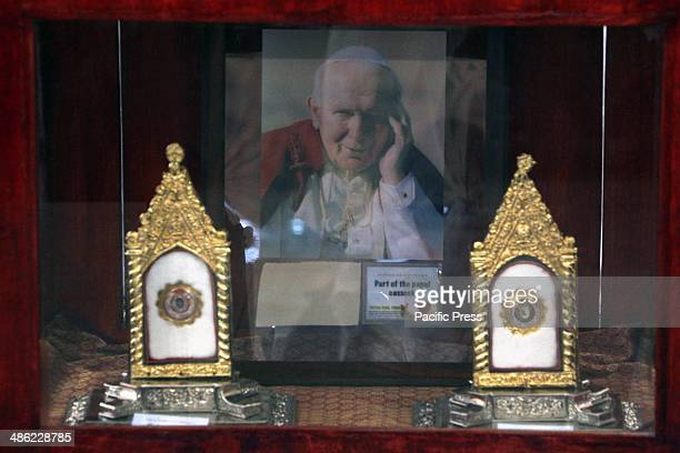 The relics of Blessed John Paul II was exhibited at the activity area of Gateway Mall in Araneta Center Cubao Quezon City The relics on left is the...