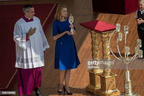 The relics of Elizabeth Hesselblad and of Stanislaus of Jesus and Mary are placed in front of the altar during a Holy Mass for the canonization of...