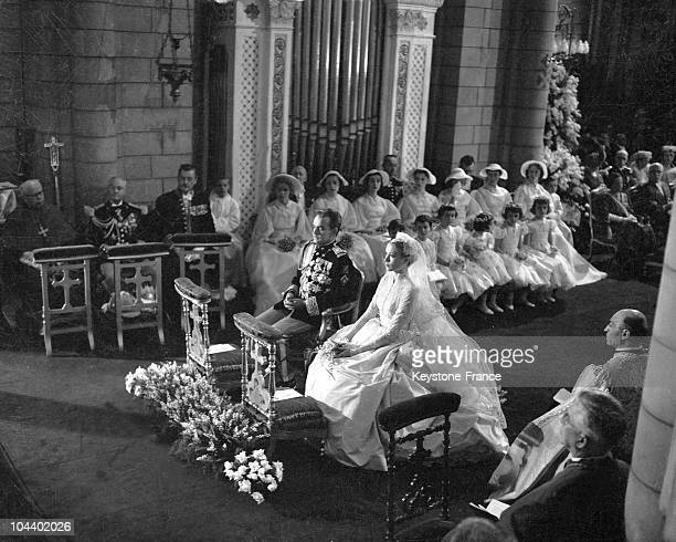 The religious marriage of Grace KELLY and Prince RAINIER III OF MONACO celebrated in Monaco cathedral