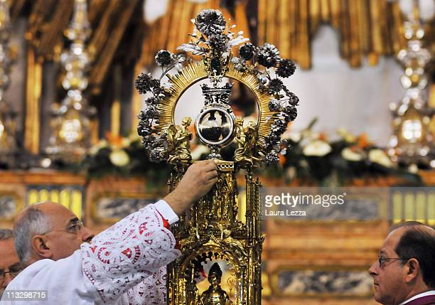 The reliquary containing the two vials of the blood of San Gennaro is seen during a ceremony on the day of the blood miracle at Naples Cathedral on...