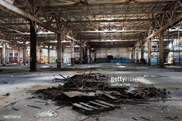 The remaining interior of a shuttered factory connected to the brass industry stands in what was once a vibrant manufacturing city on October 21 2018...