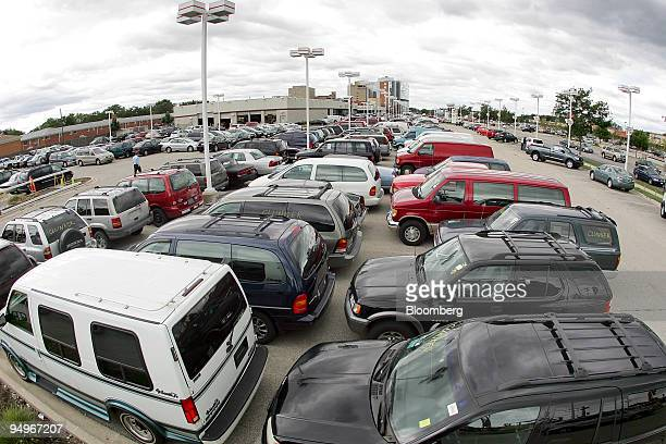 """The remaining inventory of new Toyota vehicles, far right, is outnumbered by vehicles traded in through the """"cash for clunkers"""" program on the lot at..."""