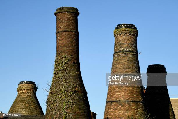 The remaining kilns of Enson Works Longton on October 25 2017 in Stoke on Trent England At the height of the Potteries industry the StokeonTrent...