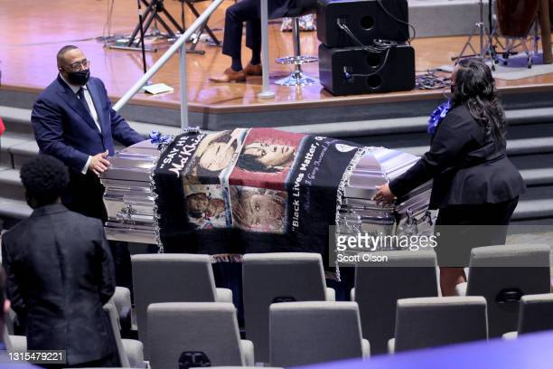 The remains of 16-year-old Ma'Khia Bryant are carried from the chapel following her funeral service at First Church of God on April 30, 2021 in...