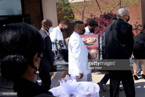 The remains of 16-year-old Ma'Khia Bryant are carried to a hearse following her funeral service at First Church of God on April 30, 2021 in Columbus,...