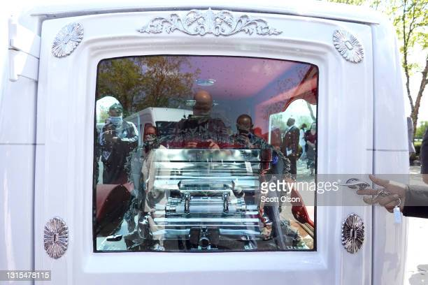 The remains of 16-year-old Ma'Khia Bryant are loaded into a hearse following her funeral at First Church of God on April 30, 2021 in Columbus, Ohio....