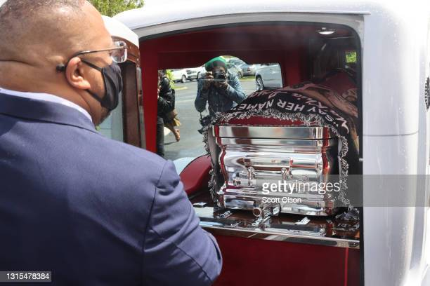 The remains of 16-year-old Ma'Khia Bryant are loaded into a hearse following her funeral service at First Church of God on April 30, 2021 in...