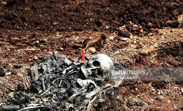 The remains of a Bosnian Muslim are seen in a mass grave in the village of Budak located some 25 km from a memorial center for the Srebrenica...