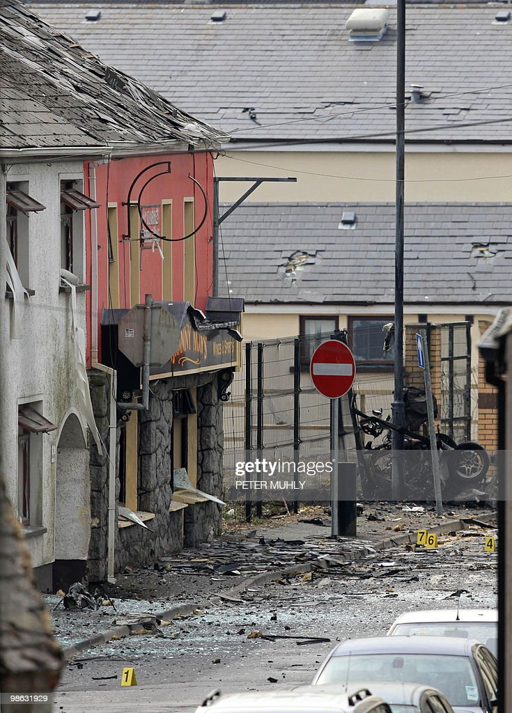 The remains of a car bomb that exploded outside the Newtownhamilton Police station, lies in a street, in South Armagh, Northern Ireland, on April 23, 2010. Northern Ireland's first minister condemned Friday a car bomb outside a police station as an 'evil and cowardly attack', as security forces warned of the highest threat here for 12 years. AFP PHOTO/Peter Muhly