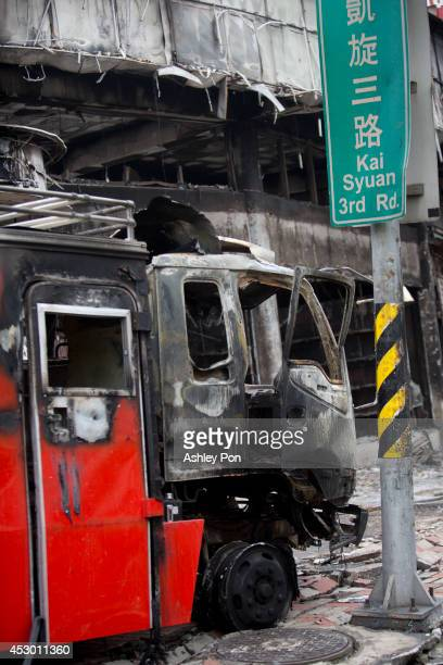 The remains of a damaged truck after several gas explosions took place in southern Kaohsiung on August 1, 2014 in Kaohsiung, Taiwan. A series of...