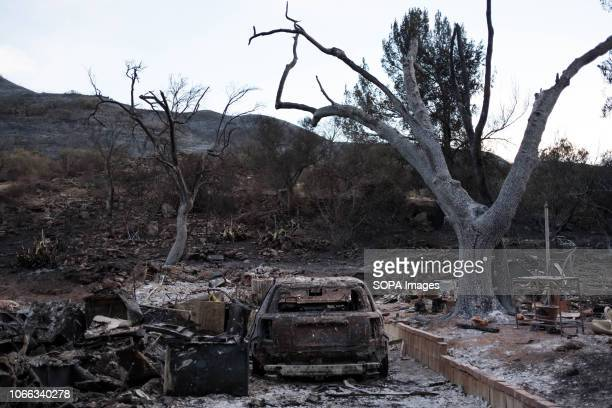 The remains of a home claimed by Woolsey Fire are seen Woolsey Fire has burned 96949 acres of land and claimed around 435 structures in it's path...