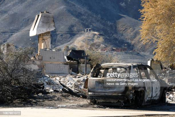 The remains of a home in the 39000 block of Lobo Canyon in Agoura Hills where a third body possibly a victim of the Woolsey fire was discovered...