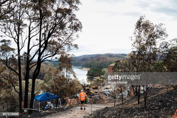 The remains of a house on Thompsons Drive on March 25 2018 in Tathra Australia A bushfire which started on 18 March destroyed 65 houses 35 caravans...