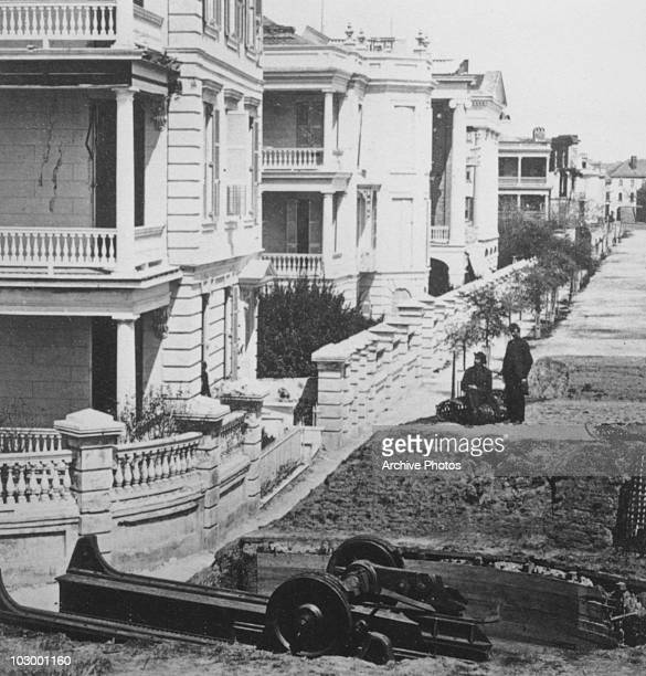 The remains of a large Blakely gun burst by rebels before the evacuation of the Battery in Charleston South Carolina circa 1863 The Blakely gun was a...