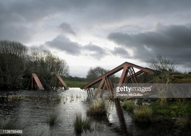 The remains of a railway bridge between the villages of Blacklion in the south and Belcoo in the north can be seen on February 22 2019 in Belcoo...