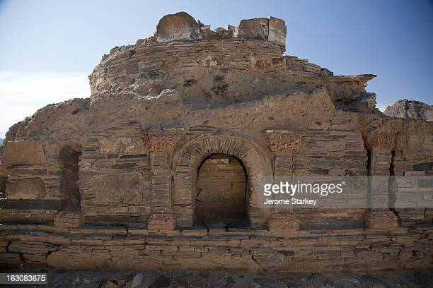 The remains of a recently excavated Buddhist stupa, or shrine, at Mes Aynak, in Logar province, Nov 14, 2011 More than 250 labourers were working...