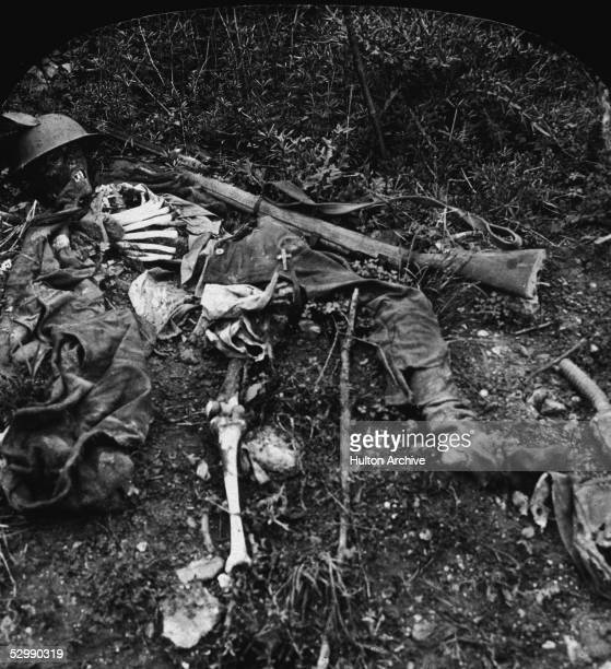 The remains of a soldier lie on the battlefield in No Man's Land after a conflict during World War I Chemin des Dames France mid 1910s