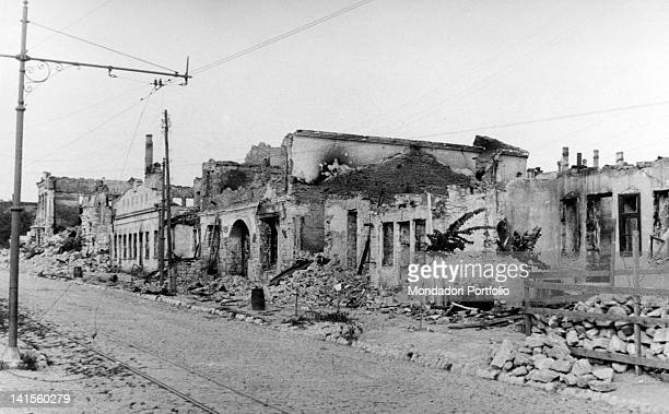 The remains of a street in Chisinau set to fire by the Russians in retreat Chisinau July 1941