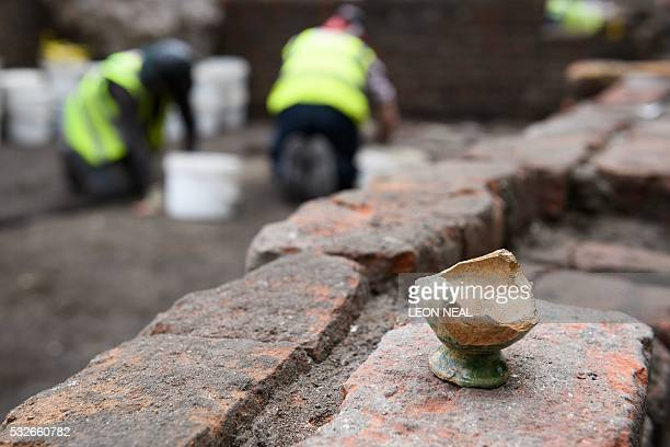 The remains of a theatrical Bird Call is seen on the site of the Curtain theatre in east London on 19 May 2016 Playwright William Shakespeare is...