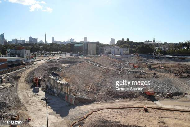 The remains of Allianz Stadium are seen on July 28, 2019 in Sydney, Australia. The $729m redevelopment of Allianz stadium has stopped following the...