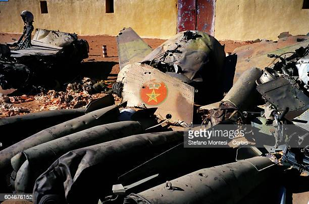 The remains of an Air Force Mirage F1 of the Royal Moroccan Air Force downed from Sahrawi army in the Saharawi refugee camp Rabouni on February 7...