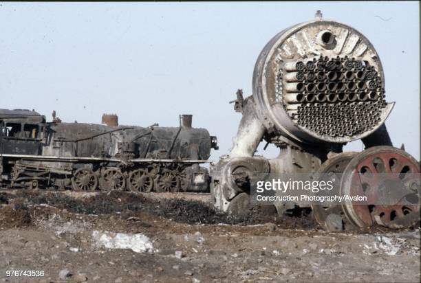 The remains of an American inspired JF Class Mikado 282 at Manzhouli on China's Russian border in Inner Mongolia another locomotive of the same type...