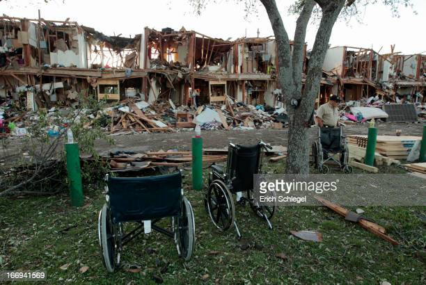 The remains of an apartment complex next to the fertilizer plant that exploded yesterday afternoon on April 18 2013 in West Texas According to West...