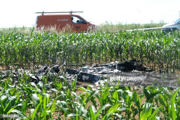The remains of an electricpowered plane crashed near Budapest is pictured on May 31 2018 An electricpowered plane crashed on May 31 on an airfield...