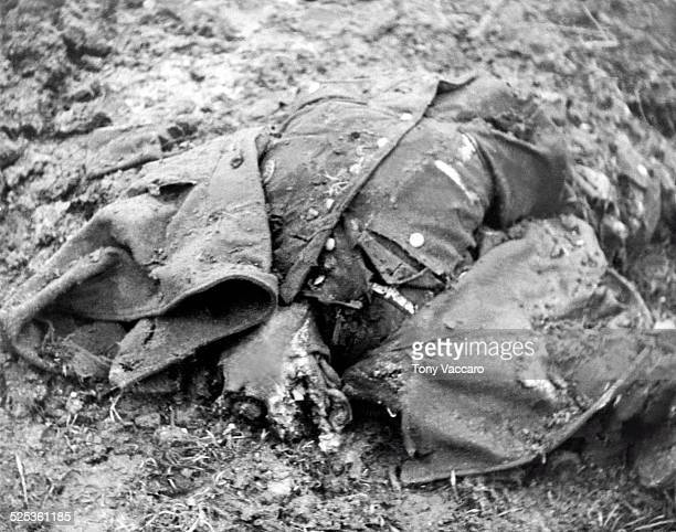 The remains of an SS officer can be seen near Hemmerden Germany during the Allied push to the Rhine World War II February 1945