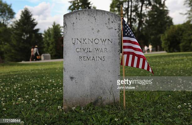 The remains of Civil War soldiers lie buried at the Soldiers' National Cemetery on the 150th anniversary of the historic battle on July 1 2013 in...