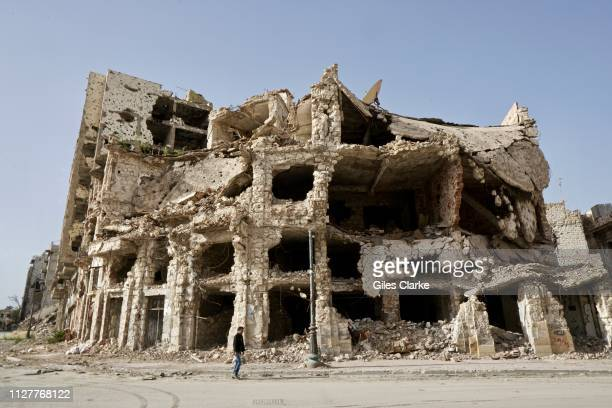 The remains of damaged buildings located in Benghazi's Old Town on February 4, 2019 in Libya. After the Libyan revolution in 2011 and the downfall of...