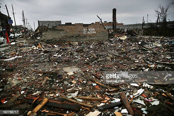 The remains of destroyed buildings sit in the Rockaways, which was heavily damaged in Hurricane Sandy on April 29, 2013 in the Queens borough of New...