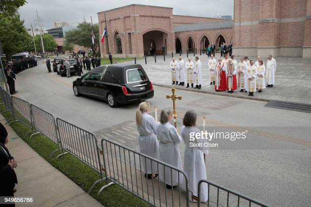 The remains of former first lady Barbara Bush leave St Martin's Episcopal Church following her funeral service on April 21 2018 in Houston Texas Bush...