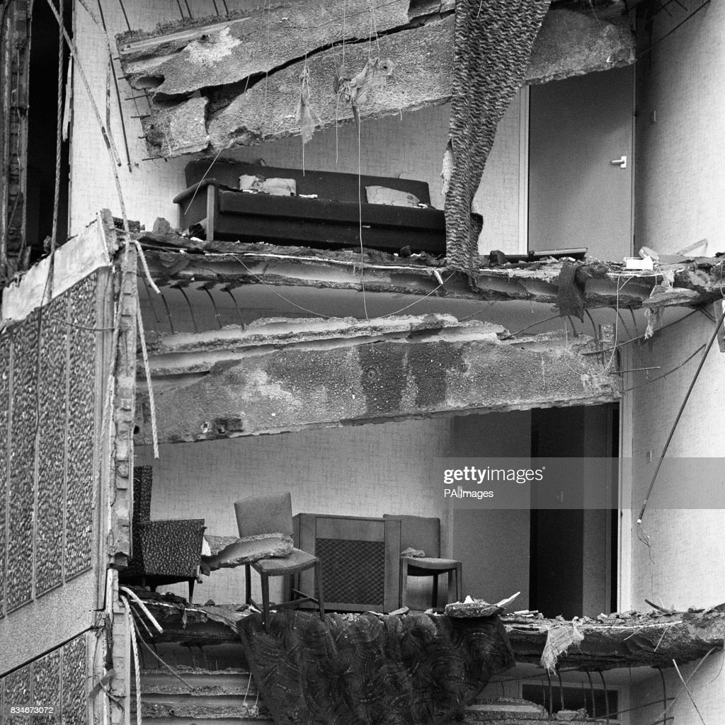 The remains of furniture on two floors after the collapse of a complete corner of a 22 storey block of flats at Canning Town in the east End of London.