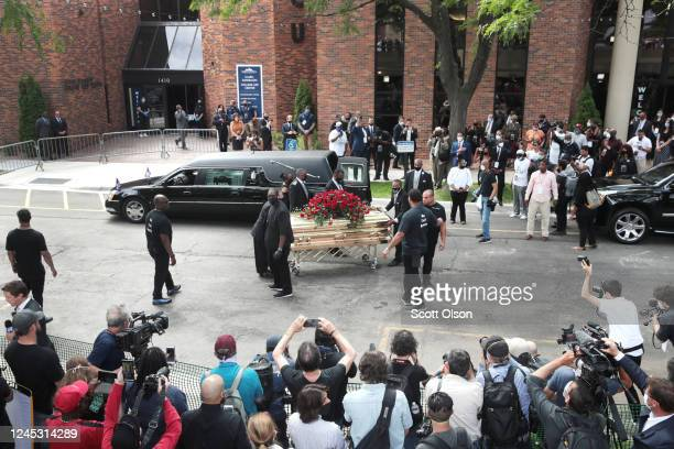 The remains of George Floyd are carried from Trask Worship Center at North Central University following a memorial service on June 4 2020 in...