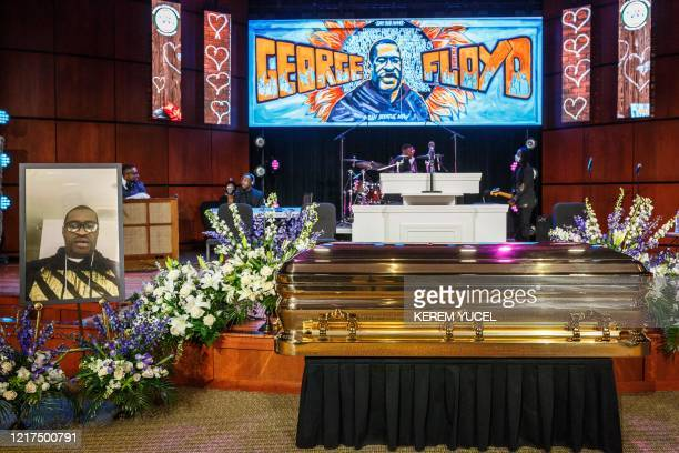 TOPSHOT The remains of George Floyd await a memorial service in his honor on June 4 at North Central University's Frank J Lindquist Sanctuary in...