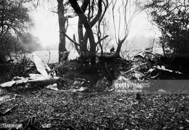 The remains of Graham Hill's Piper PA-23 Aztec twin-engine light aircraft when it crashed near Arkley, Hertfordshire, while on a night approach to...