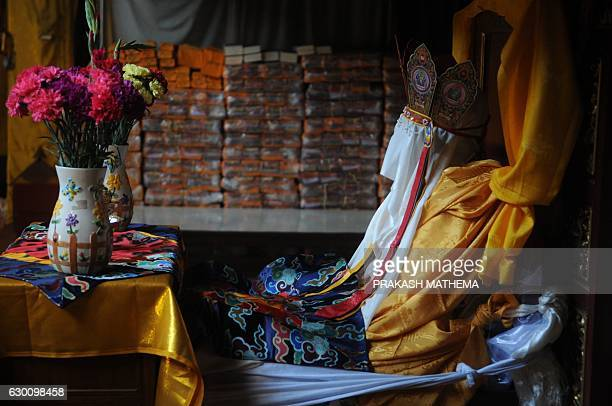 The remains of Jigme Dorje Palbar Bista the last king of former Himalayan kingdom of Mustang are seen in a monastery at Bauddha in Kathmandu on...