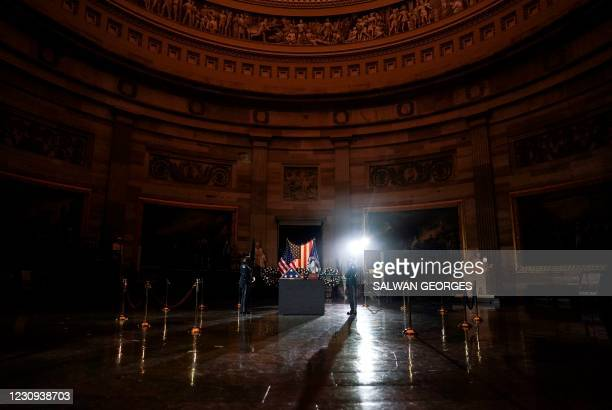 The remains of late US Capitol Police officer Brian Sicknick lie in honor in the US Capitol Rotunda in Washington, February 2, 2021. - The US Capitol...