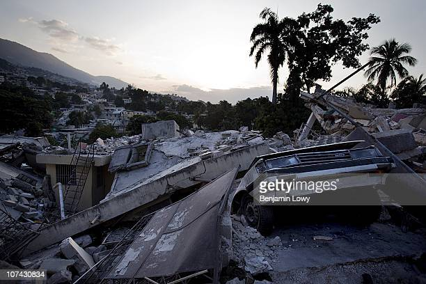The remains of multiple collapsed buildings in the hard hit Carrefour Feuilles neighborhood in Port au Prince Haiti on February 2 2010. Haiti was...