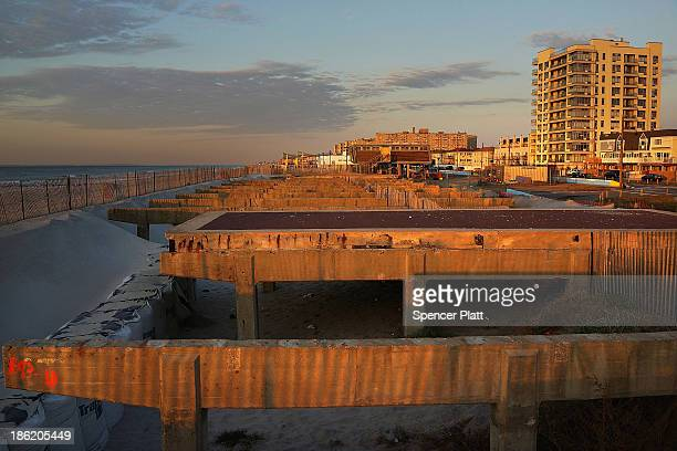 The remains of part of the boardwalk at Rockaway Beach stand on the beach following Hurricane Sandy, which destroyed large parts of the boardwalk, on...