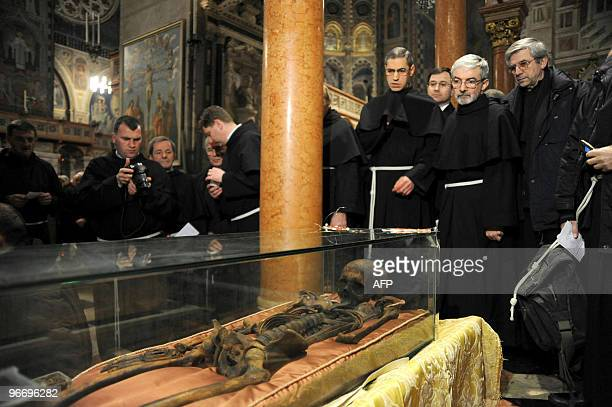 The remains of Portugese Fernando Martins de Bulhoes venerated as Anthony of Padua are exhibited to faithfuls in San Antonio's Basilica on February...