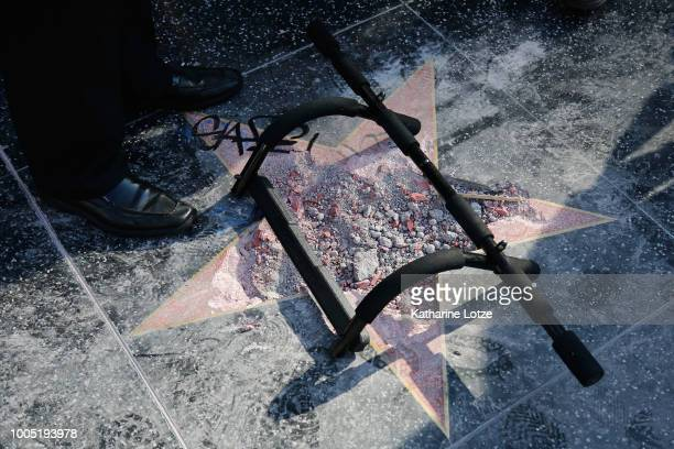 The remains of President Donald Trump's star on the Hollywood Walk of Fame on July 25 2018 in Hollywood California The star was vandalized overnight