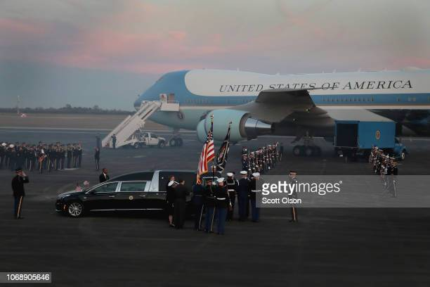 The remains of President George HW Bush arrive at Ellington Field after lying in state in Washington D C on December 5 2018 in Houston Texas The...
